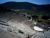 0416765 © Granger - Historical Picture ArchiveARCHAEOLOGY.    View of the theatre, with a 25,000-spectator capacity, where St Paul preached, Ephesus, Turkey. Roman Civilisation, 1st-2nd century. Full credit: De Agostini / G. Dagli Orti / Granger, NYC -- All rights reserved.