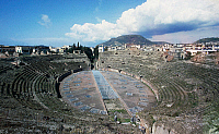 0417107 © Granger - Historical Picture ArchiveARCHAEOLOGY.    Flavian Amphitheatre, Pozzuoli, Campania, Italy. Roman civilisation, 1st century. Full credit: De Agostini / L. Romano / Granger, NYC -- All rights reserved.