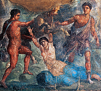 0417192 © Granger - Historical Picture ArchiveARCHAEOLOGY.    Pentheus being killed by the Bacchantes, fresco in an Oecus, House of the Vettii, Pompeii (Unesco World Heritage List, 1997), Campania, Italy. Roman civilisation, 1st century. Full credit: De Agostini / L. Romano / Granger, NYC -- All Rights Reserved.
