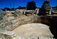 0419216 © Granger - Historical Picture ArchiveARCHAEOLOGY.    Frigidarium of the baths of the Roman Villa of Els Munts, Altafulla, Tarragona (Tarraco, Unesco World Heritage List, 2000), Catalonia, Spain. Roman civilisation, 1st-2nd century. Full credit: De Agostini / C. Sappa / Granger, NYC -- All Rights Reserved.
