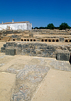 0419319 © Granger - Historical Picture ArchiveARCHAEOLOGY.    Mosaic floor, ruins of the Roman city of Ossonoba, today Faro, Portugal. Roman civilisation. Full credit: De Agostini / W. Buss / Granger, NYC -- All rights reserve