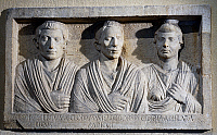 0419368 © Granger - Historical Picture ArchiveARCHAEOLOGY.    Relief of three doctors uncovered from Villa Taverna in Frascati, Lazio, Italy. Roman Civilisation, 1st century BC. Full credit: De Agostini / G. Dagli Orti / Granger, NYC -- All Rights Reserved.
