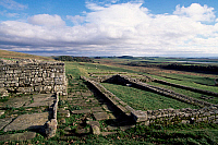 0419596 © Granger - Historical Picture ArchiveARCHAEOLOGY.    Ruins of civilian settlements, Housesteads Roman Fort, Hadrian's Wall (Unesco World Heritage List, 1987), Northumberland, England, United Kingdom. Roman civilisation, 2nd century. Full credit: De Agostini / S. Vannini / Granger, NYC -- All Rights Reserved.
