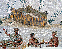 0419654 © Granger - Historical Picture ArchiveARCHAEOLOGY.    Fortified dwelling and open air banquet, detail from a mosaic portraying a Nilotic landscape from El Alia, Tunisia. Roman Civilisation, 2nd century. Full credit: De Agostini / G. Dagli Orti / Granger, NYC -- All rights reser