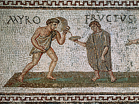0419729 © Granger - Historical Picture ArchiveARCHAEOLOGY.    Detail from a mosaic depicting Fructus being served a drink by his slaves Myro and Victor, from Uthina (Oudna), Tunisia. Roman Civilisation, 3rd century. Full credit: De Agostini / G. Dagli Orti / Granger, NYC -- All rights