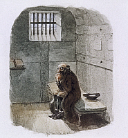 0508086 © Granger - Historical Picture ArchiveBRITISH LIBRARY.   A wonderful ghost story, being Mr H's own narrat. Fagin in prison. Full credit: British Library / Granger, NYC -- All rights reserved.