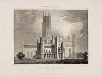 0510014 © Granger - Historical Picture ArchiveBRITISH LIBRARY.   Delineations of Fonthill and its Abbey By J Rutter. Illustration of  Fonthill Abbey in Wiltshire. Engraving. 1823. . Full credit: British Library / Granger, NYC -- All rights reserved.
