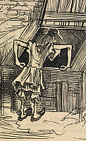 0511324 © Granger - Historical Picture ArchiveBRITISH LIBRARY.   Fun. Sairey Hann, aged ten, looking for medicine in the coal cellar. Detail from a cartoon with the title 'Quite a lucky accident'.. Full credit: British Library / Granger, NYC -- All rights reserved.