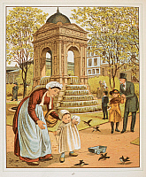 0511371 © Granger - Historical Picture ArchiveBRITISH LIBRARY.   Abroad. La Fontaine des innocents, in Paris. A mother and child feeding birds. Colour Illustration from 'Abroad'.. Full credit: British Library / Granger, NYC -- All rights reserved.