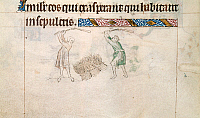 0512052 © Granger - Historical Picture ArchiveBRITISH LIBRARY.   Queen Mary Psalter. Two men threshing corn. Full credit: British Library / Granger, NYC -- All rights reserved.