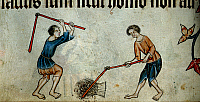 0512780 © Granger - Historical Picture ArchiveBRITISH LIBRARY.   Luttrell Psalter. Two men threshing sheaf. Full credit: British Library / Granger, NYC -- All rights reserved.