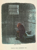 0513569 © Granger - Historical Picture ArchiveBRITISH LIBRARY.   The Adventures of Oliver Twist  With twenty-fou. Fagin in his cell. Full credit: British Library / Granger, NYC -- All rights reserved.