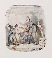 0514709 © Granger - Historical Picture ArchiveBRITISH LIBRARY.   Cruikshank's Water Colours. Oliver Twist with Fagin; the Artful Dodger; Bill Sykes and Nancy. Full credit: British Library / Granger, NYC -- All rights reserved.
