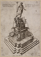 0514948 © Granger - Historical Picture ArchiveBRITISH LIBRARY.   Veduta della Fontana a Bologna da Laurentius Vaca. Engraving of fountain with a statue of Neptune in Bologna in Italy. . Full credit: British Library / Granger, NYC -- All rights reserved.