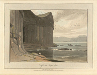 0515628 © Granger - Historical Picture ArchiveBRITISH LIBRARY.   A Voyage round Great Britain undertaken in the summer of the year 1813 With a series of views illustrative of the character and prominent features of the coast, drawn and engraved by William Daniell. Staffa coastline near Fingal's Cave. The coastline and landscape of Great Britain. Drawn and engraved by William Daniell.. Full credit: Briti