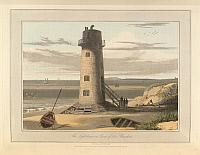 0515640 © Granger - Historical Picture ArchiveBRITISH LIBRARY.   A Voyage Round Great Britain undertaken in the summer of the year 1813. The lighthouse on Point of Air - Flintshire The coastline and landscape of Great Britain. Drawn and engraved by William Daniell.. Full credit: British Library / Granger, NYC -- All rights reserved.