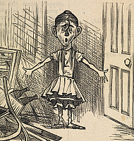 0516297 © Granger - Historical Picture ArchiveBRITISH LIBRARY.   Fun. Sairey Hann, aged ten, left on her own in a hospital, looking for the patients. Detail from a cartoon with the title 'Quite a lucky accident'.. Full credit: British Library / Granger, NYC -- All rights reserved.