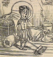 0516298 © Granger - Historical Picture ArchiveBRITISH LIBRARY.   Fun. A young girl, Sairey Hann, aged ten, holding a broom. Detail from a cartoon with the title 'Quite a lucky accident'.. Full credit: British Library / Granger, NYC -- All rights reserved.