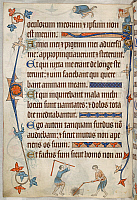 0518765 © Granger - Historical Picture ArchiveBRITISH LIBRARY.   Luttrell Psalter. Psalm 37; men with flails. Full credit: British Library / Granger, NYC -- All rights reserved.