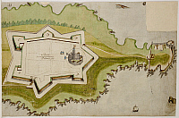 0520667 © Granger - Historical Picture ArchiveBRITISH LIBRARY.   . A plan of Falmouth fort. Full credit: British Library / Granger, NYC -- All rights reserved.