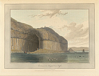 0520677 © Granger - Historical Picture ArchiveBRITISH LIBRARY.   A Voyage round Great Britain undertaken in the summer of the year 1813 With a series of views illustrative of the character and prominent features of the coast, drawn and engraved by William Daniell. Entrance to Fingal's Cave. Staffa cliffs. The coastline and landscape of Great Britain. Drawn and engraved by William Daniell.. Full credit: