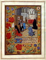 0521503 © Granger - Historical Picture ArchiveBRITISH LIBRARY.   Book of Hours. Fasting and praying in church. Full credit: British Library / Granger, NYC -- All rights reserved.