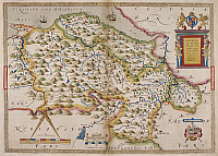 0525013 © Granger - Historical Picture ArchiveBRITISH LIBRARY.   Denbigh ac Flint  comitatuum descriptio  . Map of Denbighshire and Flintshire. Full credit: British Library / Granger, NYC -- All rights reserved.