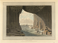 0525043 © Granger - Historical Picture ArchiveBRITISH LIBRARY.   A Voyage round Great Britain undertaken in the summer of the year 1813 With a series of views illustrative of the character and prominent features of the coast, drawn and engraved by William Daniell. Fingal's Cave. Basalt pillars on Staffa. The coastline and landscape of Great Britain. Drawn and engraved by William Daniell.. Full credit: B