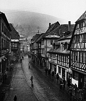 0560917 © Granger - Historical Picture ArchiveGERMANY.   Frame houses in the main street of Miltenberg in Lower Franconia. Undated picture. Full credit: Juliette Lasserre / Süddeutsche Zeitung Photo / Granger, NYC -- All rights reserved.