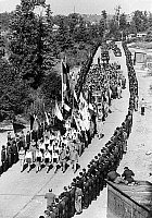 0561118 © Granger - Historical Picture ArchiveGERMANY.   The Buchenwald concentration camp memorial was inaugurated in 1958. Young pioneers march there in order to participate at the festivities. Full credit: Max Scheler / Süddeutsche Zeitung Photo / Granger, NYC -- All rights reserved.