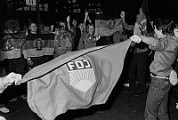 0562343 © Granger - Historical Picture ArchiveGERMANY.   FDJ supporters at the Hamburg Central Station. Full credit: Dietmar Gottschall / Süddeutsche Zeitung Photo / Granger, NYC -- All rights reserved.