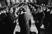 0562423 © Granger - Historical Picture ArchiveGERMANY.   The Schaffermahlzeit (traditional fraternity dinner for ships' captains, ship owners, and merchants) in Bremen's Town Hall. Full credit: Dietmar Gottschall / Süddeutsche Zeitung Photo / Granger, NYC -- All rights reserved.