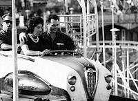 0563333 © Granger - Historical Picture ArchiveSPAIN.   A couple having fun in the amusement park on the Tibidabo mountain in Barcelona. Full credit: Gert Mähler / Süddeutsche Zeitung Photo / Granger, NYC -- All rights reserved.