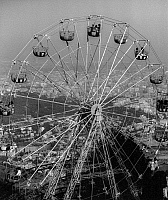 0563360 © Granger - Historical Picture ArchiveSPAIN.   The ferris wheel in the amusement park 'Parc d`Atraccions Tibidabo' on the Tibidabo, Barcelona's local mountain. Full credit: Gert Mähler / Süddeutsche Zeitung Photo / Granger, NYC -- All rights reserved.