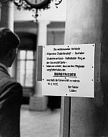 0576518 © Granger - Historical Picture ArchiveGERMANY.   A placard informs that the students associations, the general student body, the association of German students and the Catholic circle at the University of Berlin have committed themselves to maintain a truce. Because of the riots of politicized student the lectures at the Frederick William University has been restricted. Full credit: Scherl / Süd