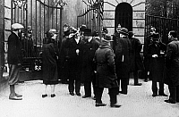 0576524 © Granger - Historical Picture ArchiveGERMANY.   Policemen at the Frederick William University in Berlin guard the gate following the disturbances of the students. Full credit: Scherl / Süddeutsche Zeitung Photo / Granger, NYC -- All rights reserved.