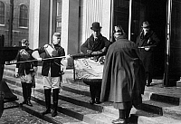 0576532 © Granger - Historical Picture ArchiveGERMANY.   After the police has banned the rally of students of the Frederick William University in Berlin on the Reichsgruendungtag on 18.01.1929 , students furl a flag again. Full credit: Scherl / Süddeutsche Zeitung Photo / Granger, NYC -- All rights reserved.