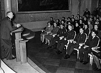 0576533 © Granger - Historical Picture ArchiveGERMANY.   The principal of the University Prof. Lothar Kreuz during an address at the solemn commitment of new students, among them members of the Wehrmacht and wounded men of different military units in the Old Hall of the Frederick William University. Full credit: Scherl / Süddeutsche Zeitung Photo / Granger, NYC -- All rights reserved.