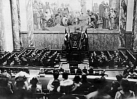 0576542 © Granger - Historical Picture ArchiveGERMANY.   The privy councilor rector Bumm holds speech in the auditorium of the Frederick William University in Berlin. Full credit: Scherl / Süddeutsche Zeitung Photo / Granger, NYC -- All rights reserved.