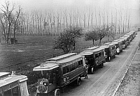 0596850 © Granger - Historical Picture ArchivePEOPLE.   Considering the threat to Paris by the German advance, General Joseph Gallieni comandeered cars, buses and taxis to transport troops to the front on the Marne. On the photo are some of the buses deployed for troop transport. Full credit: Scherl / Süddeutsche Zeitung Photo / Granger, NYC -- All rights reserved.