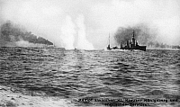 0597140 © Granger - Historical Picture ArchivePEOPLE.   German cruiser SMS 'Konigsberg' in combat with British destroyers during the Battle of Coronel in the First World War. Full credit: Scherl / Süddeutsche Zeitung Photo / Granger, NYC -- All rights reserved.
