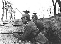 0598504 © Granger - Historical Picture ArchivePEOPLE.   Two cavalry men occupy a trench and watch out for enemy troops. Full credit: Scherl / Süddeutsche Zeitung Photo / Granger, NYC -- All rights reserved.