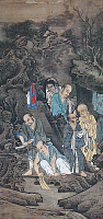 0601203 © Granger - Historical Picture ArchiveCHINA.   Arhats Laundering, a painting of five Buddhist arhats and their attendant, by Lin Tinggui, 1178 CE, Song Dynasty. Full credit: Pictures from History / Granger, NYC -- All rights reserved.