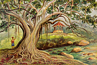 0601482 © Granger - Historical Picture ArchiveINDONESIA.   A Sacred Fig (Ficus religiosa), or Bo-Tree at Bogor, Java. Watercolor by Ernst Heinrich Philipp August Haeckel.  Full credit: Pictures from History / Granger, NYC.