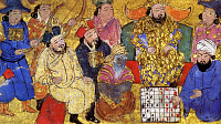 0601687 © Granger - Historical Picture ArchivePERSIA: CHESS MATCH, 1300s.   A depiction of Persian court adviser Buzurgmihr, right, defeating an Indian envoy at chess in the presence of the Shah. Illustration, 1300s.