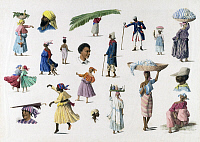 0601705 © Granger - Historical Picture ArchiveSURINAME.   Watercolor by Arnold Borret (1848-88) with small sketches of different members of society and their various ethnic backgrounds in the Dutch colony of Suriname in the1880s.  Full credit: Pictures from History / Granger, NYC.