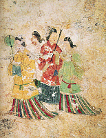 0601740 © Granger - Historical Picture ArchiveJAPAN.   Japan: The mural 'Asuka Bijin' or 'Beautiful women of the Asuka Period', Takamatsuzuka Tomb, 6th-7th century CE  Full credit: Pictures from History / Granger, NYC.