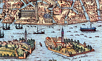 0602099 © Granger - Historical Picture ArchiveITALY.   Detail from a 16th-century illustration of Venice showing lateen- (triangular-) and square--rigged ships.. Full credit: Pictures from History / Granger, NYC -- All rights reserved.