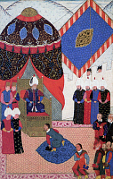 0602128 © Granger - Historical Picture ArchiveTURKEY.   'Sultan Suleyman receiving Stephen Zapolya', from the illuminated manuscript 'Nuzhet El-Esrar el-Ahbar der Sefer-i-Sigetvar' by Ahmed Feridun Pasa, dated 1568-9.. Full credit: Pictures from History / Granger, NYC -- All rights reserved.