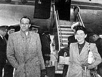0602184 © Granger - Historical Picture ArchiveVIETNAM.   Major Jean Sainteny and his wife arrive at Orly Airport, Paris, shortly after brokering a pact with Ho Chi Minh which subsequently fell through.. Full credit: Pictures from History / Granger, NYC -- All rights reserved.